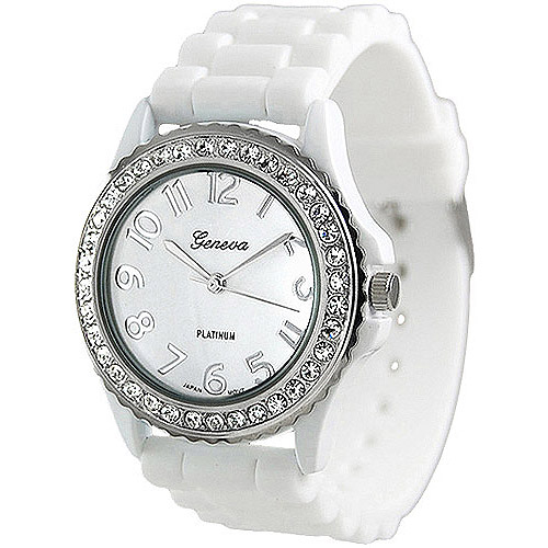 Brinley Co. Women's Rhinestone-Accented Silicone Watch