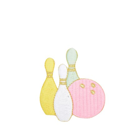 Pastel Bowling Pins and Ball - Iron on Applique/Embroidered Patch