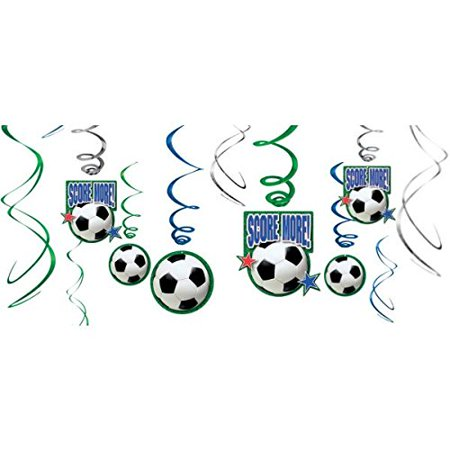 Soccer Ball Hanging Swirl Decorations (12pc) (Soccer Theme Party Decorations)