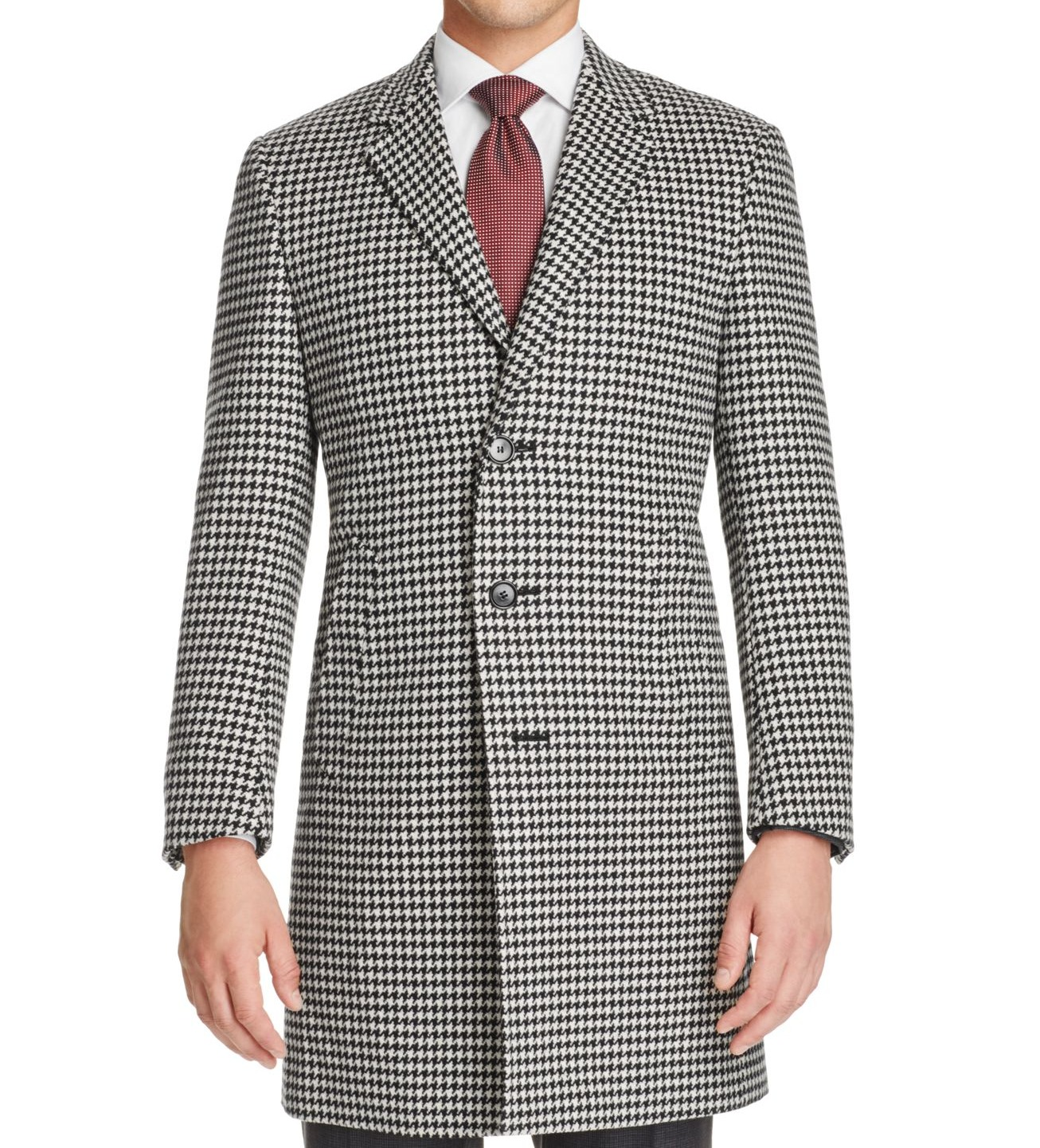 Canali New Black White Mens Size 44R Regular Houndstooth Coat Wool by Canali