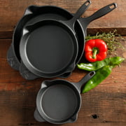 "The Pioneer Woman Timeless Cast Iron 3-Piece Set, 6"", 8"" and 10"" Cast Iron, Pre-Seasoned"
