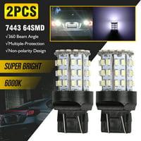 TSV 7440 7443 LED White LED Bulbs Xtreme Super Bright T20 LED Bulb 5730 64-SMD LED Bulb for Back-Up Reverse/Turn Signal/Brake Stop Tail Lights, 6000K Xenon White