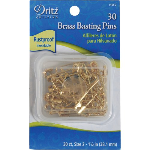Quilting Safety Pins, Brass, Size 2, 30pc