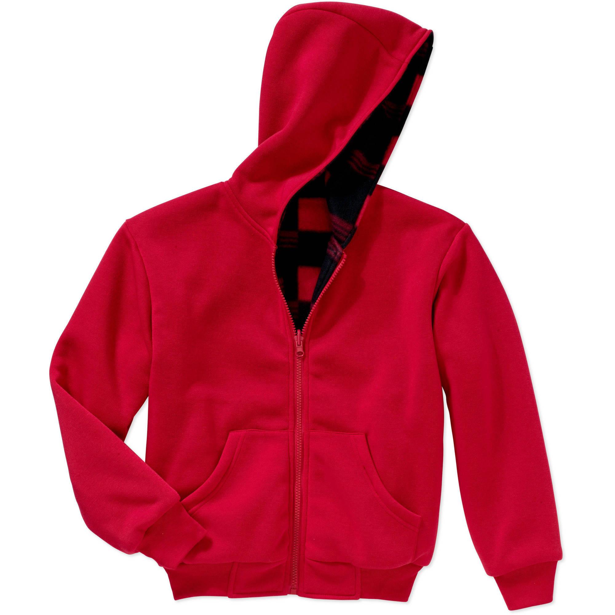 BOCINI Boys Reversible Fleece Hooded Jacket, Available in Buffalo and Camo Prints
