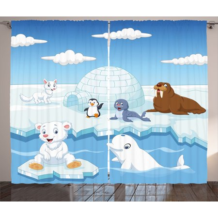 Kids Curtains 2 Panels Set, Image of Arctics Animals Polar Bears Seal Penguins Wolfs Whales Work of Art, Window Drapes for Living Room Bedroom, 108W X 108L Inches, Sky Blue and White, by Ambesonne