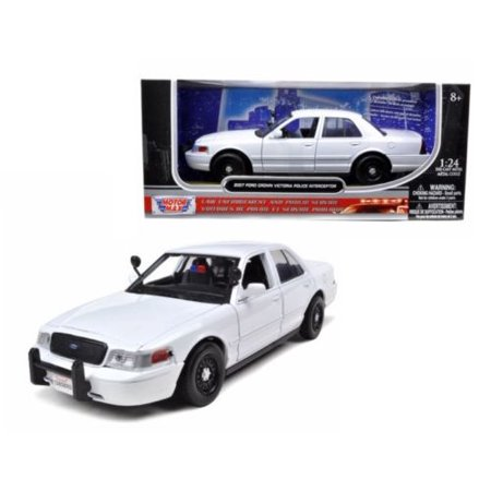 MOTOR MAX 1:24 W/B - 2010 FORD CROWN VICTORIA POLICE INTERCEPTOR (PLAIN WHITE)