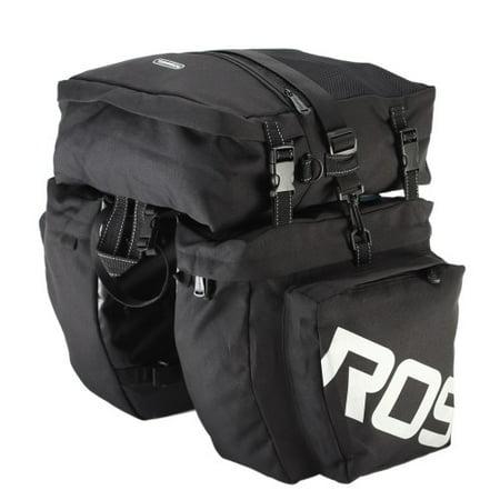 Bicycle Bag, 3-in-1 Waterproof Bicycle Cycling Pannier Bag Gear Pack Black