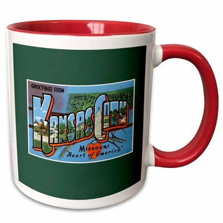 - 3dRose Greetings from Kansas City Missouri Heart of America Scenic Postcard - Two Tone Red Mug, 11-ounce