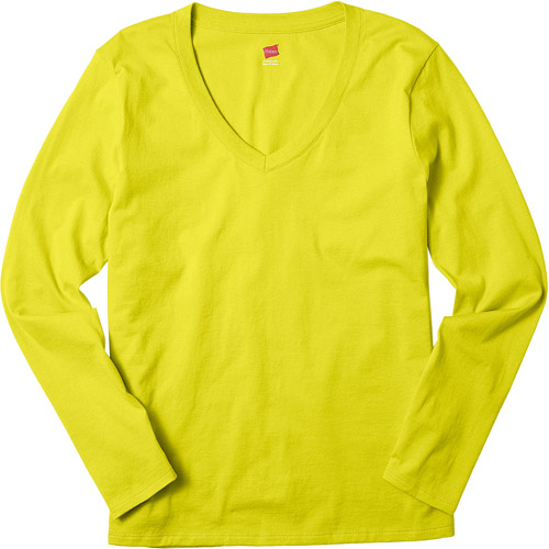 Hanes Women's Essential Long Sleeve V-neck T-Shirt