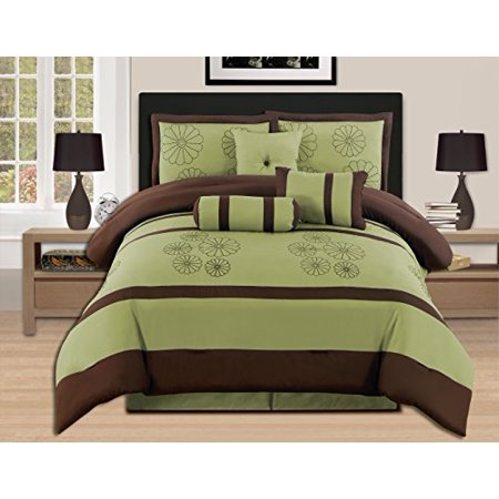 7 Pieces Luxury Embroidery Queen Sage Brown Comforter Set Bed-in-a-bag (Oversize) Bedding- Hs - Green Bedding