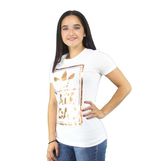 441061b8 adidas - Adidas Metallic Rose Gold Double Logo Women's White T-shirt ...