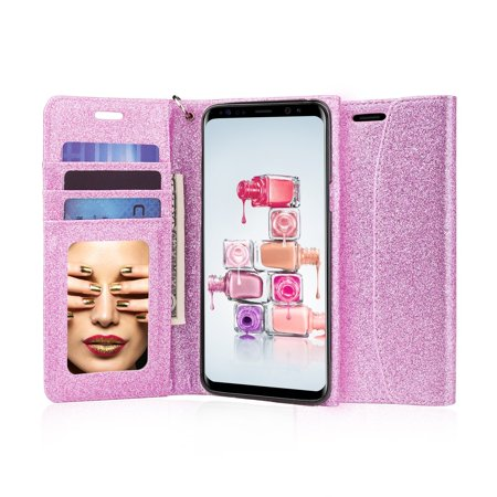 J&D S9 Case, [Glittering] [Mirror Function] [RFID Blocking] Sparkling Heavy Duty Protective Shock Resistant Flip Cover Wallet Case with Card Slots and Makeup Mirror for Samsung Galaxy S9 -