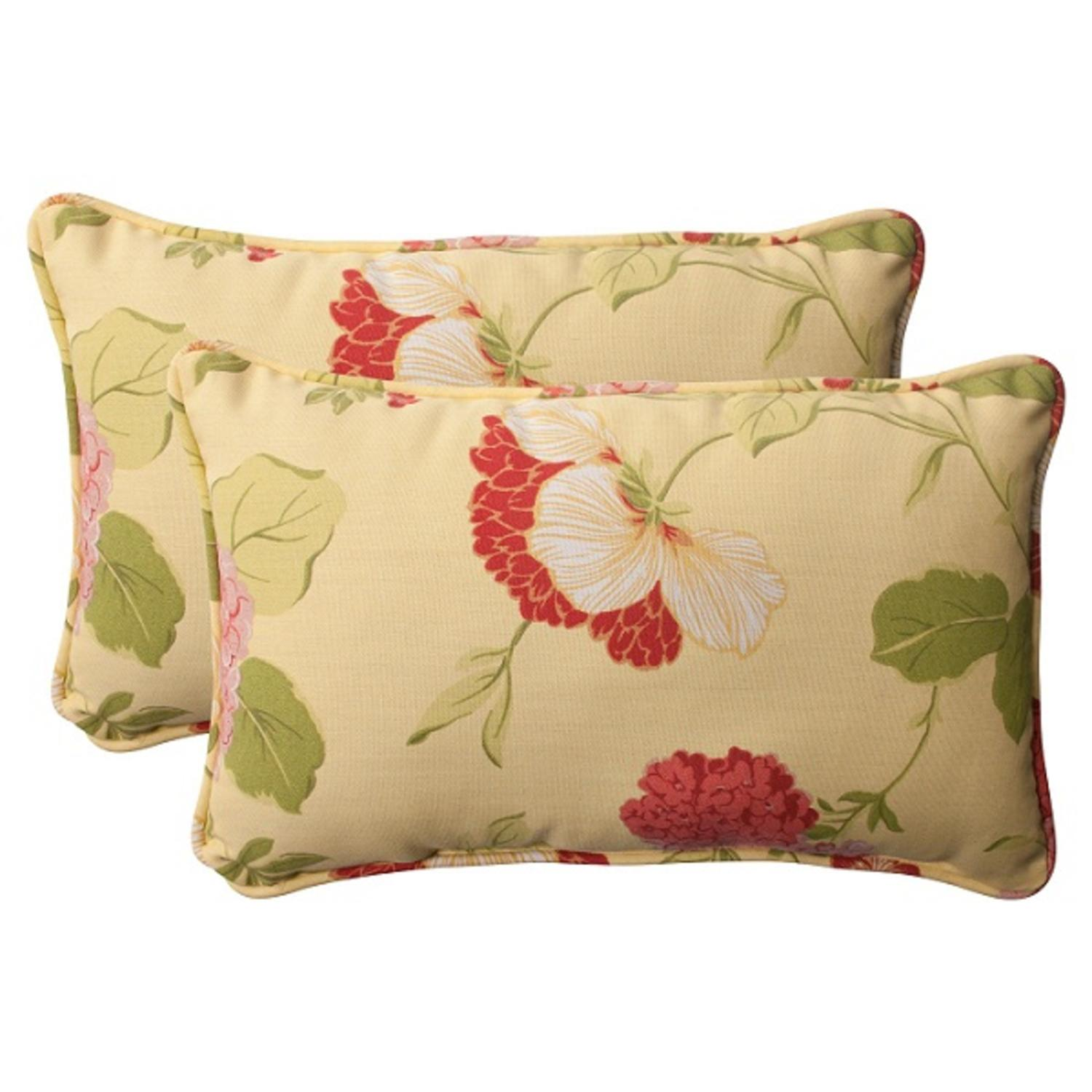 """Set of 2 Solarium Bashful Blossom Outdoor Corded Rectangle Throw Pillows 18.5"""""""