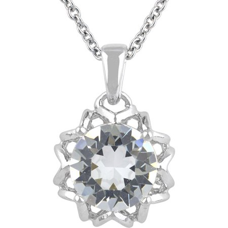 bdcd9e4df68 Truly Crystal Swarovski Silver-Tone Prong Set Solitaire Pendant, 18