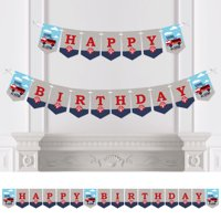 Fired Up Fire Truck - Firefighter Firetruck Birthday Party Bunting Banner - Birthday Party Decorations - Happy Birthday