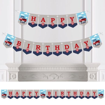 Fired Up Fire Truck - Firefighter Firetruck Birthday Party Bunting Banner - Birthday Party Decorations - Happy Birthday](Fire Truck Party Decorations)