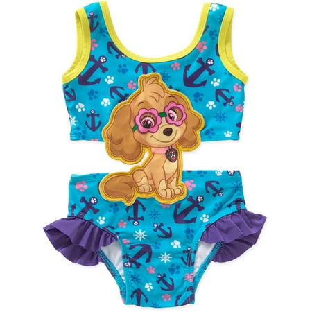4925e5ad6676e PAW Patrol - Toddler Girl Swim Suit with Applique - Walmart.com