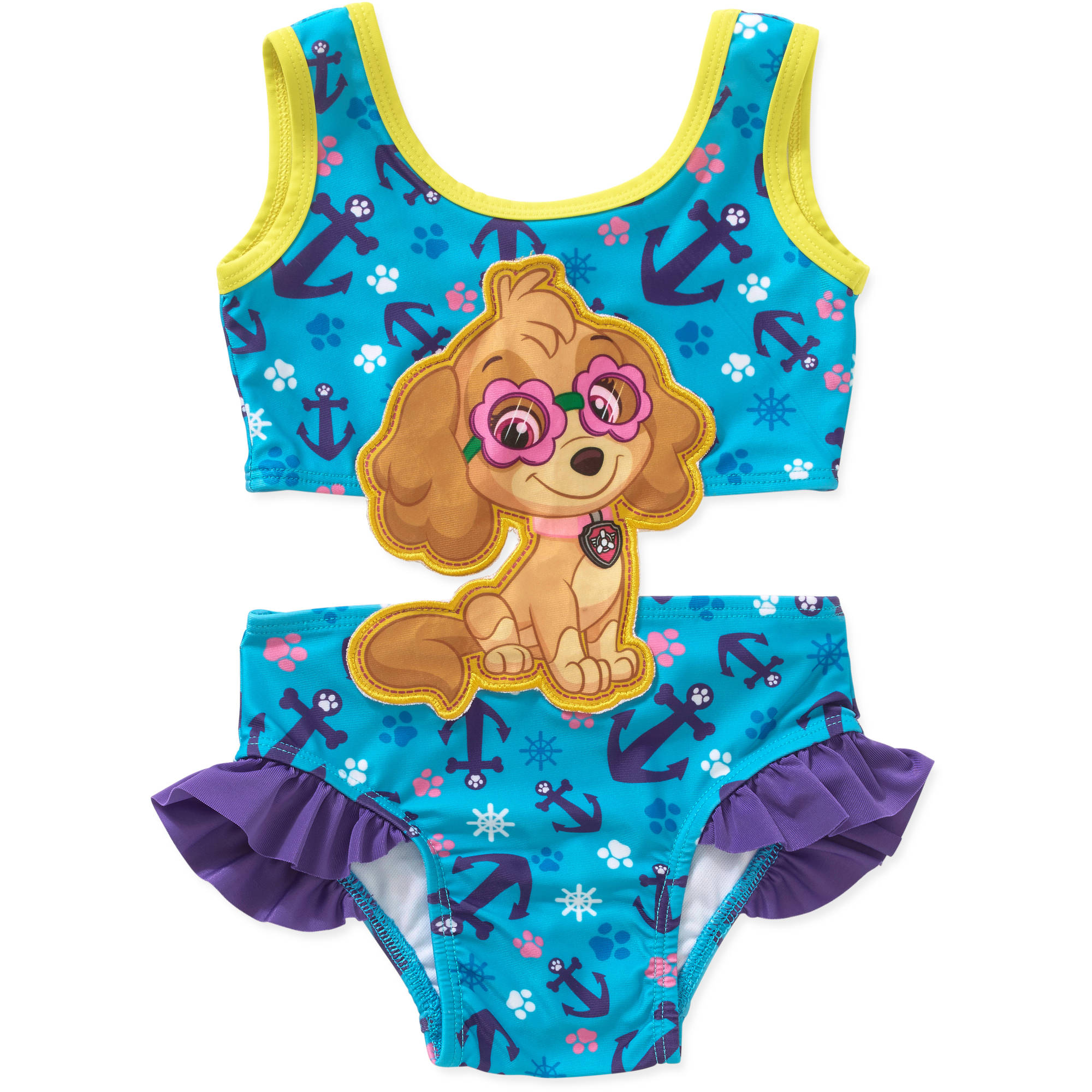 Paw Patrol Toddler Girl Swim Suit with Applique