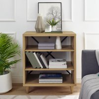 Modern Essentials Georgette Rustic Farm House Three Shelf Solid Wood Bookcase/End Table with Legs, Multiple Colors