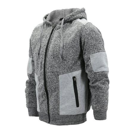 Men's Two Tone Warm Soft Sherpa Lined Moto Quilted Zipper Fleece Hoodie Jacket (MSM-40-5 Light Grey, 2XL) Lined Zipper Hoodie Sweatshirt Jacket