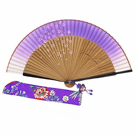 wise bird hand held folding cooling fan f706 (design 2018) japanese chinese handheld silk breeze pocket fan for women,outdoor wedding party decorations with silk pouch and embroidery.gifts for