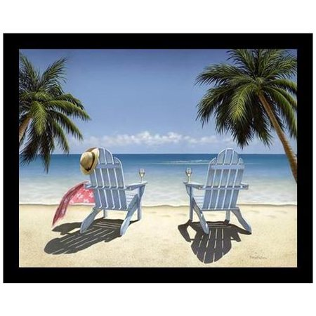 Framed Cocktails For Two By Daniel Pollera 14X11 Art Print Poster Tropical Coastal Ocean Beach