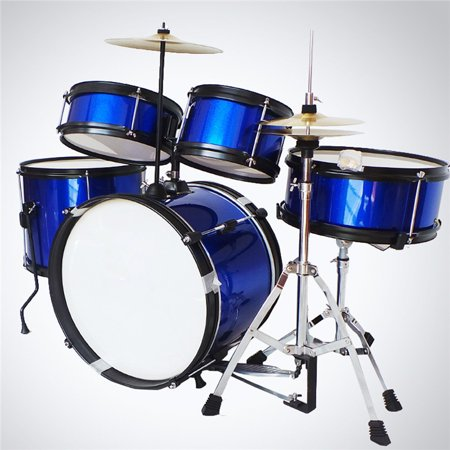 5Pcs Drum Set For Beginners Kids Junior Sticks Kit Cymbal Full Size with Stool (Full Wheel Drum)