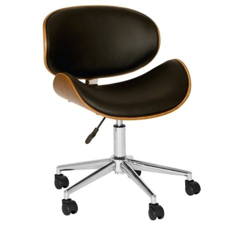 Armen Living Daphne Faux Leather Swivel Office Chair in Black - image 1 de 1