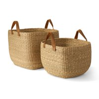 MoDRN Naturals Floppy Seagrass Basket with Leather Handles, Square, Set of 2