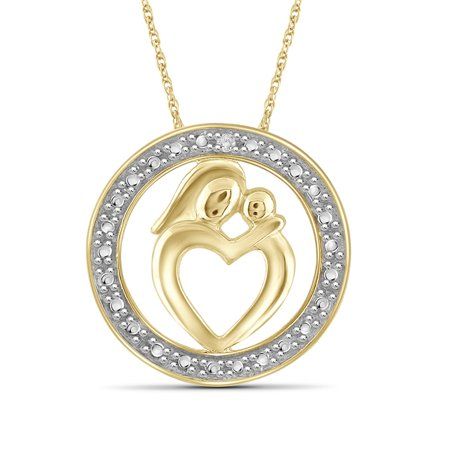 Diamond Accented Circle Pendant - White Diamond Accent Gold over Silver Mother and Child Heart with Circle Pendant