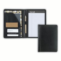 "Samsill Contrast Stitch Leather Junior Padfolio, 5""x8"" Writing Pad Included, Black"