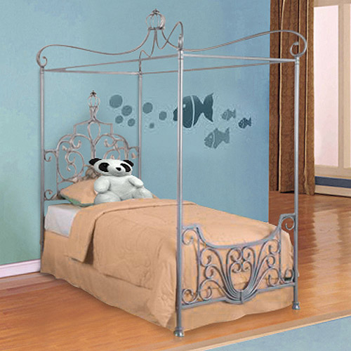 Metal Canopy Twin Bed, Sparkle Silver