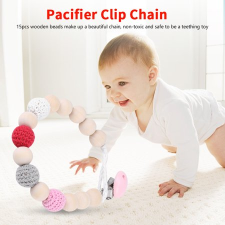 Feeding Clip - Infant Pacifier Soother Holder Crochet Wooden Beads Chain Metal Clip Baby Shower Feeding Toy, Pacifier Clip Chain, Pacifier Clip