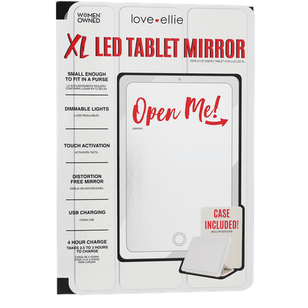 Love Ellie Megan XL LED Tablet Mirror with dimmable lights and micro USB cord| White