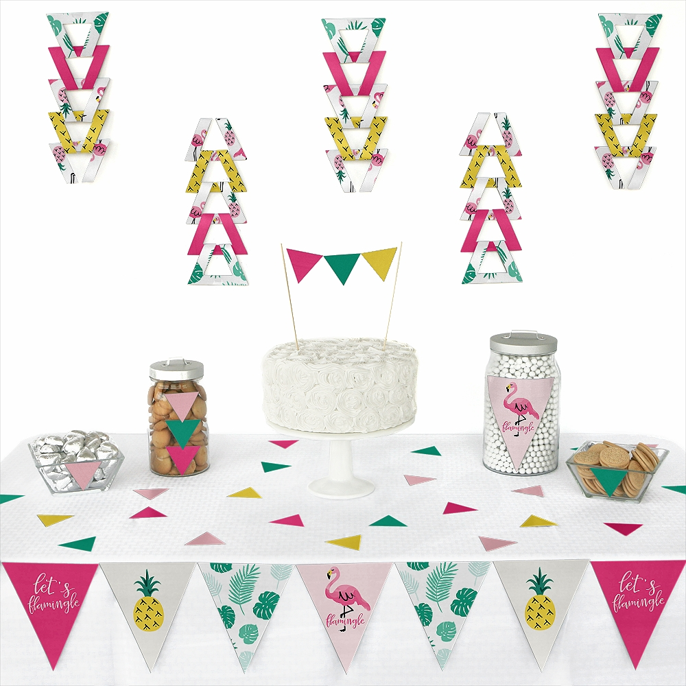 Flamingo - Party Like a Pineapple - Triangle Party Decoration Kit - 72 Pieces