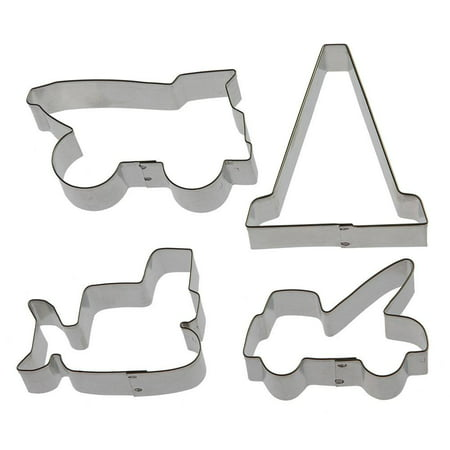 Construction Cookie Cutters (Construction Vehicles Cookie Cutter Set - 4 Piece - HS0430 - Bulldozer 3 in, Dump Truck 3.75 in, Tow Truck 3 in, Traffic Cone 3.5 in - Foose - USA)