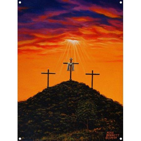 Three Crosses at Calvary Metal Art Print by Mike Bennett (9