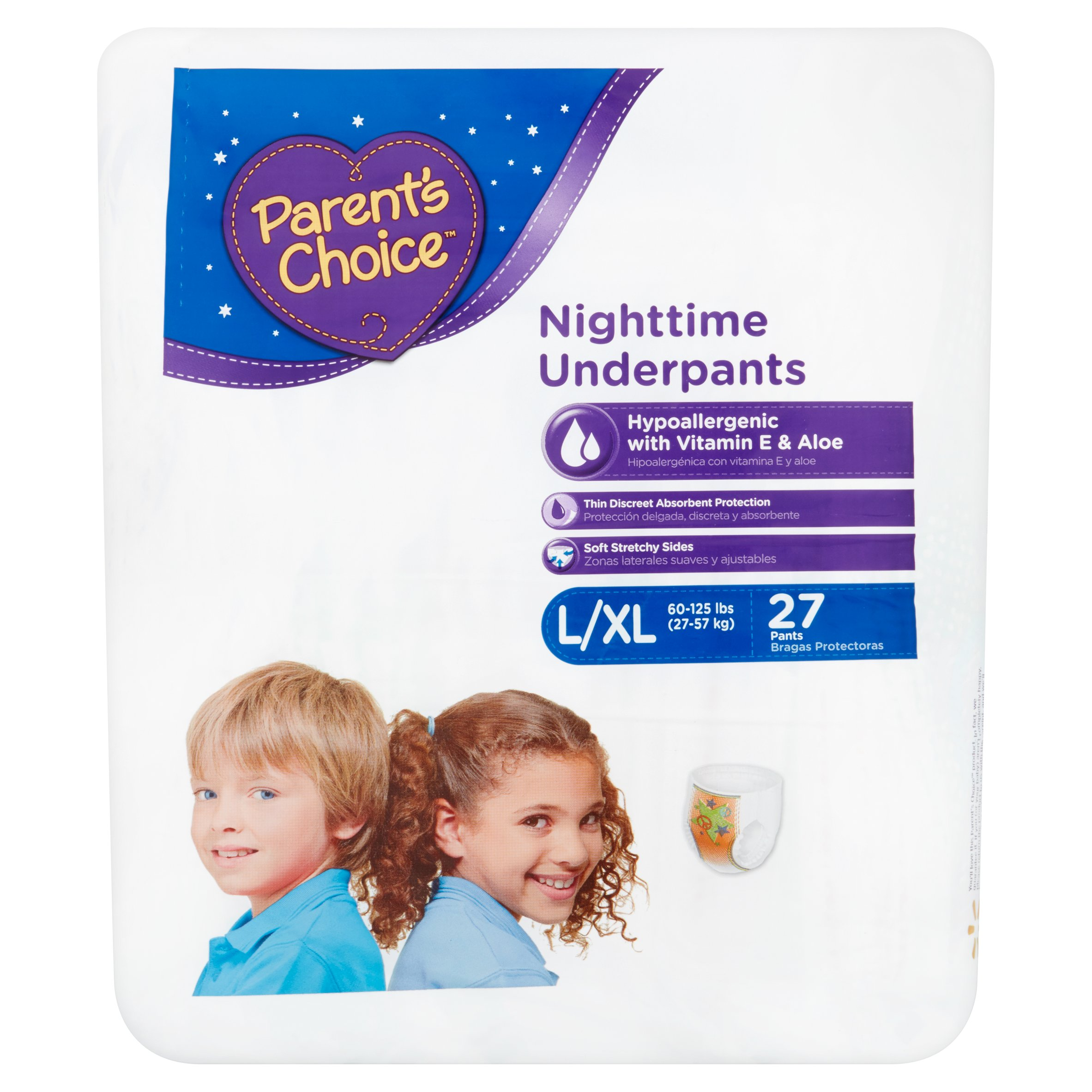 Parent's Choice Nighttime Underpants L/XL 60-125lbs, 27 count