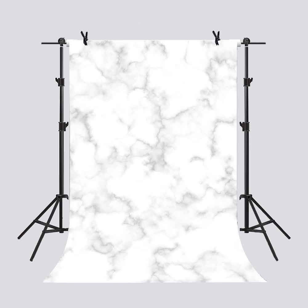 Hellodecor Polyster 5x7ft White Marble Vein Tile Wall Backdrop