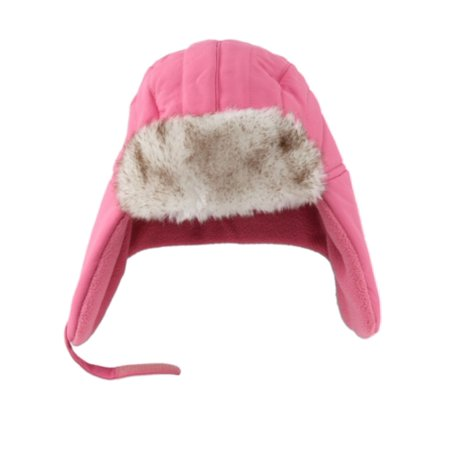 ABC Toddler Girls Light Pink Trapper Hat with Faux Fur Trim Aviator - Toddler Aviators