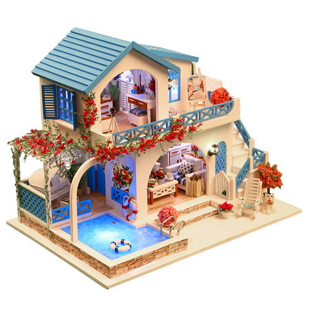 Miniature Super Mini Size Doll House Building Model Kits Wooden Furniture Toys DIY Dollhouse Blue and White Town