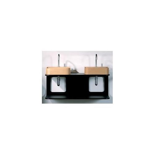 Whitehaus Collection  AELM100DN 39. 37 Aeri double shelf wood wall mount structure for two washbasins- Natural- Birchwood