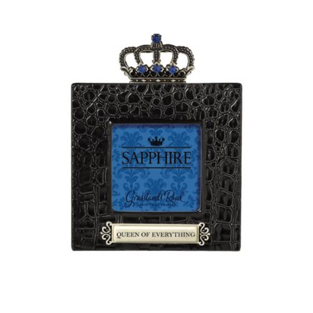 - Queen of Everything Sapphire Crown Embellished High Gloss Ceramic Black Crocodile Frame, Gift box By Grasslands Road