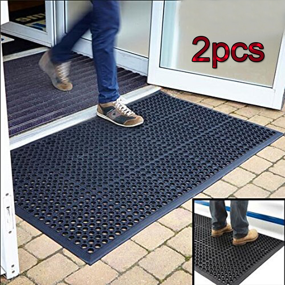 """Zimtown 2pcs Rubber Entrance Doormat Floor Mat 60"""" x 35"""" Entrance Rug Indoor Outdoor Doormat, Shoe... by"""