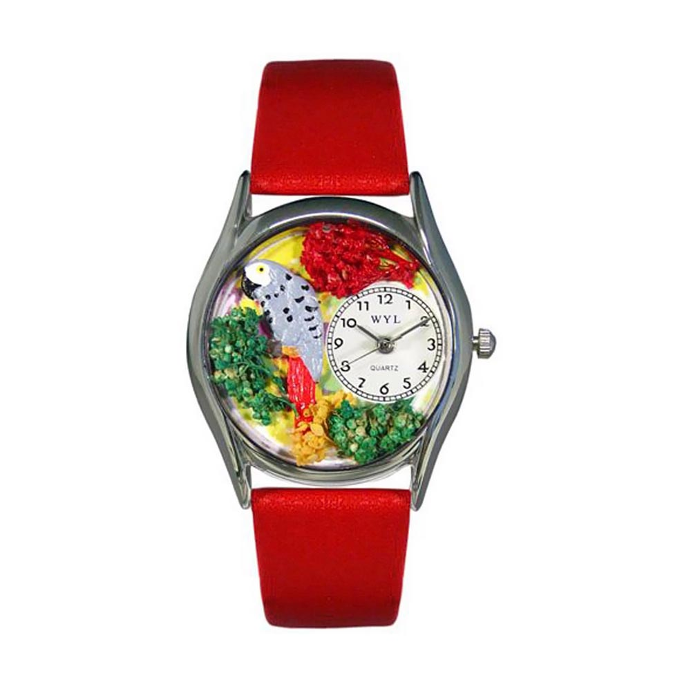 Whimsical African Gray Parrot Green Leather And Silvertone Watch