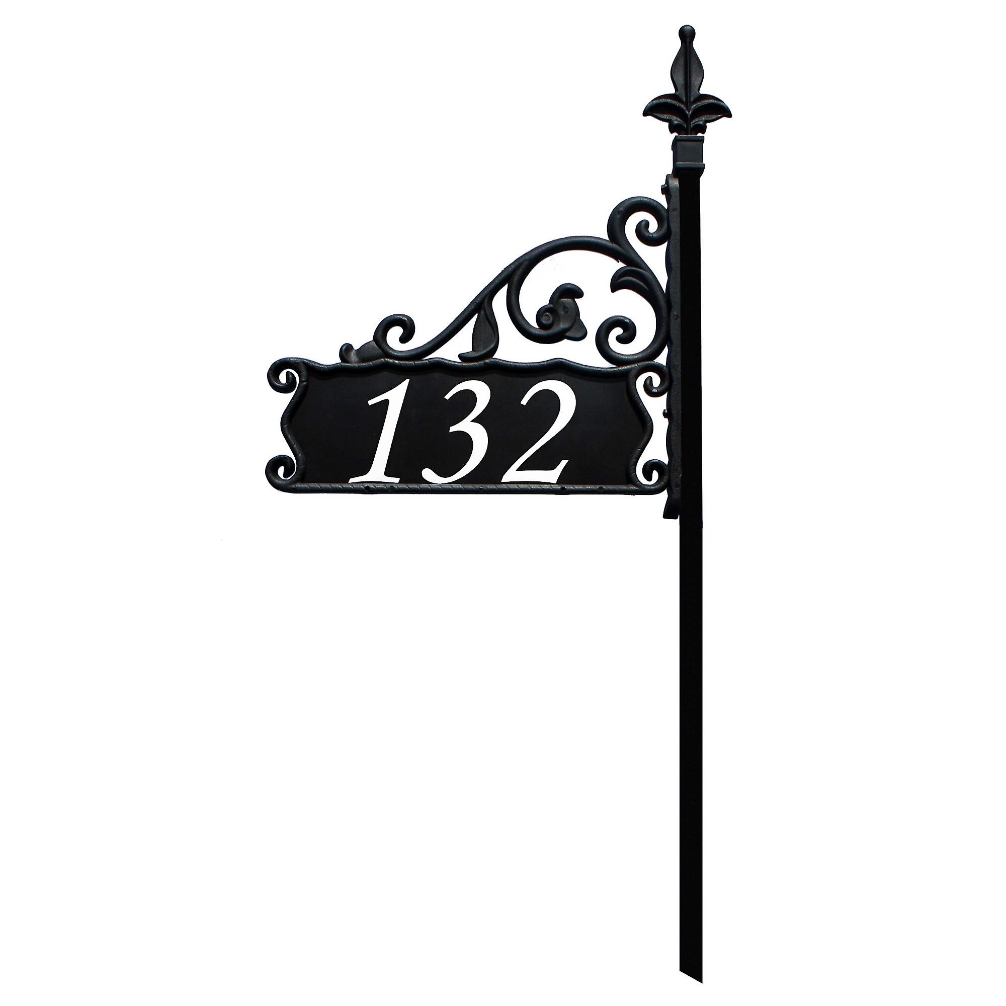 "Boardwalk Reflective 911 Home Address Sign for Yard - Custom Made Address Plaque - Wrought Iron Look Exclusively By Address America (30"" Pole - Elegant Font)"