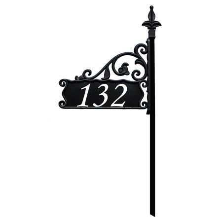 Pinecone Address Plaque - Boardwalk Reflective 911 Home Address Sign for Yard - Custom Made Address Plaque - Wrought Iron Look Exclusively By Address America (30