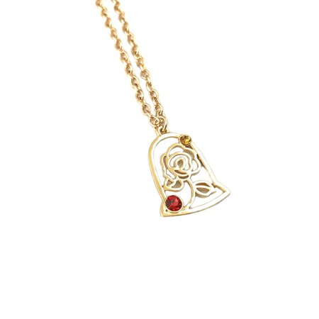 Beauty and the Beast Gold Tone Rose Necklace w/Gift Box by (Beauty And The Beast Rose Necklace Gold)