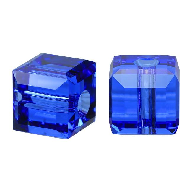 Swarovski Crystal, #5601 Cube Beads 4mm, 10 Pieces, Sapphire Blue