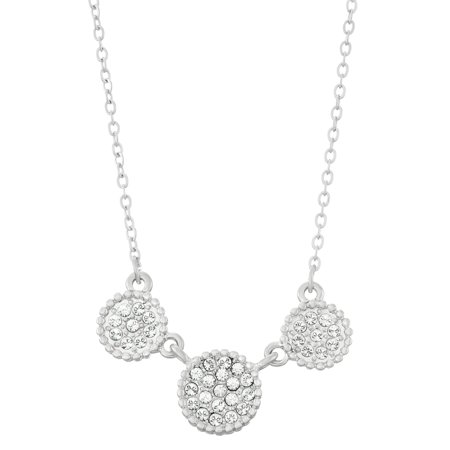 Isla Simone  Rhodium Plated Triple Circle Shapes Pave Crystal Necklace,  Made with Swarovski Crystals ()